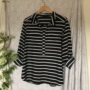 Ann Taylor striped popover tunic with tab sleeve